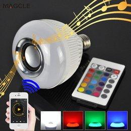 Wholesale Led Light Blub Remote - 2017 New Smart LED Blub Light Lamp Wireless Bluetooth Speaker Blub Music Playing with 24 Keys Remote Control LED Light Blub