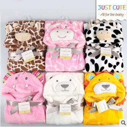 Wholesale Fleece Throws Cheap - Hot Sale Baby Animal Blankets Cloak Blanket Coral Fleece Cheap Kids Animal Cape Hooded Baby Bath Towel 8 Designs Discount