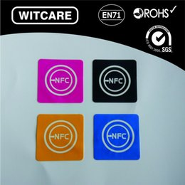 Wholesale Nfc S4 - Wholesale- Free shipping(4 Pcs) NFC Tags Stickers Ntag203 13.56Mhz RFID Tag for Samsung Galaxy S5 Note3 S4 Nokia Nexus4 10 Oppo HTC Sony LG