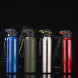 Wholesale Steel Camp Mug - Creative Straw Mug Stainless Steel Insulated Cup Multi Color Water Bottle Outdoor Camping Drinking Tools 25yx C R
