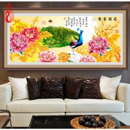 Wholesale Peacock Oil Painting Framed - YGS-102 DIY 5D Peacock Peony Rich Flowers Round Diamond Painting Cross Stitch Kits Diamonds Embroidery Diamond Mosaic Home Decor