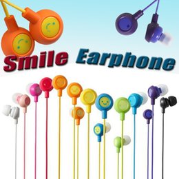 Wholesale Colorful Ear Headphones - 3.5mm Universal Fruit Smile Colorful Earbuds In-Ear Stereo Headphones Earphones Compatiable With SmartPhone For Iphone 6 Samsung