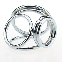 Wholesale Stainless Cock Rings - Reusable Cock Ring Stainless Steel Penis Extender Enlarger Ball Stretcher Penis Rings Sex Delay Spray Adult Sex Products For Man