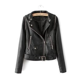 Wholesale White Western Jacket - New Arrival Motorcycle PU Leather Jackets For Women Spring Autumn Coats Sleeve Removable Outwear Overcoat Western style Black White S M L