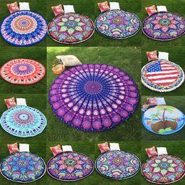 Wholesale Stylish Pashmina - Wholesale- Women Beach Towel Hot New Stylish Hippie Round Mandala Tapestry Indian Wall Hanging Throw Towel Mat Scarf Clothing Accessories