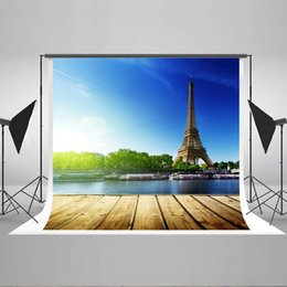 Wholesale Eiffel Tower Backgrounds - Kate 7x5ft Eiffel Tower Backdrop Lake Photo Background for Children Cotton, Seamless Photo Booth Props YY00436