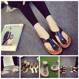 Wholesale Outdoor Bricks - Beach Shoes Flip Flops Summer Cork Slipper Woman Flat Sandals Antiskid Slippers Beach Casual Cool Slipper 2pcs pair OOA1674