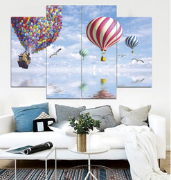 Wholesale Paint Over Canvas Print - Flying Over The Sky with Color Hot Air Balloons Frameless Paintings