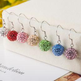 Wholesale Crystal Ball Earrings Sale - hot sale high quality fashion luxury woman super glittering diamond rhinestone ball shambhala S925 sterling silver clip chandelier earring