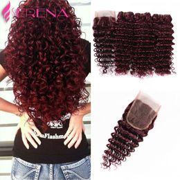 Wholesale Hair Extensions Red Colors - Peruvian 3 Bundles 99J Deep Curly Hair Burgundy Deep Wave Human Hair Weaves Wine Red Peruvian Extensions