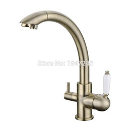 Wholesale Three Hole Kitchen Faucet - Wholesale- Factory Direct Modern 100% Solid Brass Three Ways Alba Black Kitchen Faucet Osmosis Tri Flow Sink Mixer 3 Way Water Filter Tap
