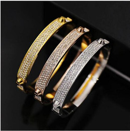 Wholesale Set 316 - Brand New Bangles Rivet 316 L Titanium Stainless Steel Full Crystal Bangles Bracelets Fashion Jewelry For Women and Men