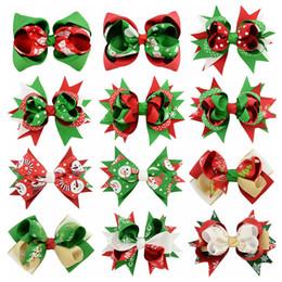 Wholesale Ribbon Hairclips - Sunshinehat 5 Inch Girls Hair Accessories Christmas Print Hairclips Kids Party Hair Bow Girls Hairbows Ribbon Hair Clips 660