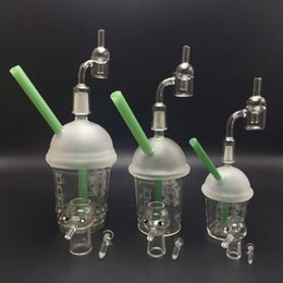 Wholesale Nail Cups - 10mm 14mm 18mm Starbucks Glass Cup Dabuccino Cup With Free Quartz Banger for oil rig glass bongs glass domeless nail