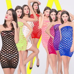 Wholesale Lingerie Onesies - Women Erotic Porn Sexy Lingerie Hot Fishnet Open Crotch Lingerie Female Mini Dress Nightwear Nightdress Costumes Body Stocking