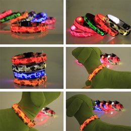 Wholesale Camo Small Dog Collars - LED Dog Collars Camo Dog LED Collar Pet Glow Collars Flashing Nylon Light Up Satety Collar 7 Colors Size S M L XL