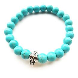 Wholesale Turquoise Skulls Bracelet - Beaded Bracelets Halloween Gift Skull Lava Bracelet Turquoise Fashion Pumice Stones Matte Agate Charm Jewelry Unisex Tiger's eye