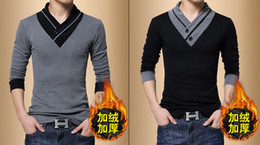 Wholesale Dong Man - Men long sleeve T-shirt v-neck fleece jacket render unlined upper garment of qiu dong han edition cultivate one's morality men's hair thicke