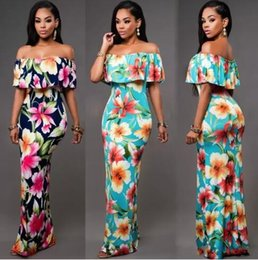 Wholesale Cheap Holiday Maxi Dresses - 2018 Off the Shoulder Cheap Summer Maxi Floral Printed Summer Beach Dresses Sheath Bodycon Floor-Length Holiday FS1179 Women Long Dresses