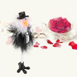 Wholesale Guest Pen Wedding Favor - Wholesale- 1Pc Bride & Groom Ostrich Wedding Reception Guest Book Pen Fun Feather Set Gift