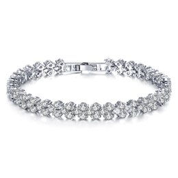 Wholesale Stainless Cuffs Female - Fatory sale high quality Rhinestone Rome Bracelet for Woman Girl Jewelry wedding Female Accessories Austrian Crystal alloy chain