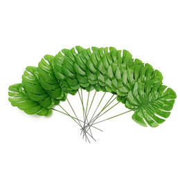 Wholesale Tree Flower Decorations - 12 Artificial Palm Spray Fern Turtle Leaf Plant Tree Branch For Home Wedding Decoration