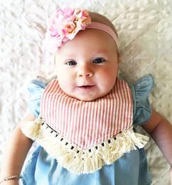 Wholesale Newborn Stripes - INS baby Girls Bibs New Cotton tassels stripe Newborn Burp Cloths Floral Printed Infant Burping Cute Polka Dot Girl Bib C1501