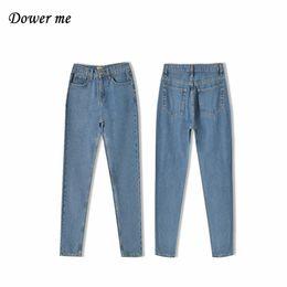 Wholesale Ladies Street Jeans - Street Style Loose Slim Women Straight Jeans Pants Casual Simple Light Soft Ladies Denims Trousers YN271