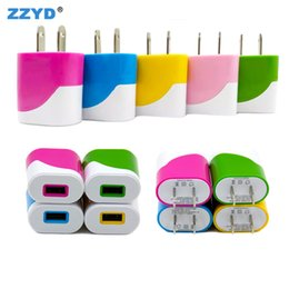 Wholesale Candy Wall - ZZYD Candy Colorful US EU Plug USB Power 1A Single port Wall Charger Home Travel Charger Adapter For Samsung galaxy S8 Smartphone