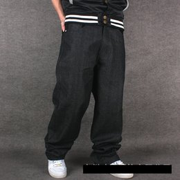 Wholesale men s dress jeans - Wholesale-Loose hip hop jeans men printed jeans Mens dress big yards tide straight trousers hip-hop HIPHOP hip-hop clothing flocking