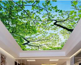 azulejos de baño de mosaico verde Rebajas Papel pintado 3d en el techo cielo azul ramas papel tapiz de techo 3d para cuartos de baño paisaje estereoscópico techo