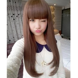 Wholesale Long Hairpieces For Women - Wig Female Long Straight Fake Hair Glueless Full Lace Human Hair Extensions Wigs Straight Hair hairpiece for Women