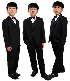 Wholesale Toddler Winter Suits - 5 Pcs Infant Toddler & Boy Formal Children Tuxedo Wedding Party Suit Black Boys Suits