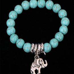 Braccialetto d'argento elefante all'ingrosso online-Nuovi fascini classici Bracciali Turchese etnico con argento tibetano Elefante Bracciali per le donne infinito all'ingrosso di gioielli