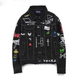 Wholesale Motorbike Jeans - 2017 Jeans Jacket Men Women Streets DOODLE Denim Coat Male Motorbike Jean Coat Jackets Asian Size