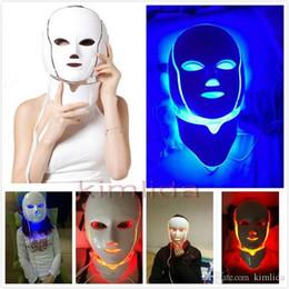 Wholesale Microcurrent Led Facial - 7 LED lights Photon Therapy Beauty Machine Skin Rejuvenation LED Facial Neck Mask With Microcurrent For skin whitening for acne treatment