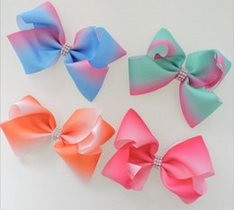 Wholesale Pageant Hair Bows - 7 style available 8inch JoJo Siwa Small Pastel Rainbow Signature Hair Bow Dance Cheerleader Pageant Bows 30pcs no paper card