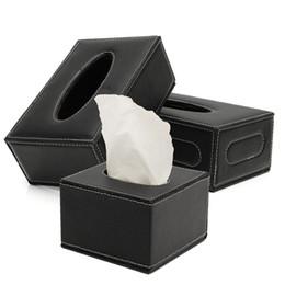 2019 tovaglioli di carta dell'annata all'ingrosso La cassa del supporto per scatola di carta magnetica in pelle nera europea PU di migliore qualità
