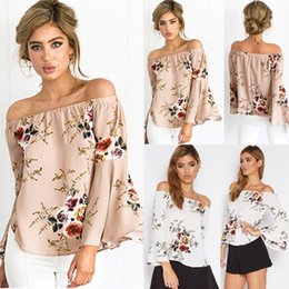 Wholesale Off Shoulder Shirts For Women - 2017 Spring Summer New Fashion Floral Print Chiffon Blouse Shirts Casual Elegant Womens Clothing Plus Size Tops T Shirt for Women CL179