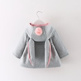 Wholesale Kids Brand Coats Wholesale - Girl Coat Cute Rabbit Ear Hoodies Autumn Winter Warm Kids Jacket Outerwear Children Clothing Baby Tops 3 Colors
