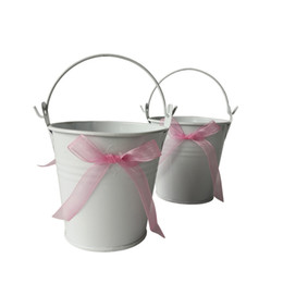 Wholesale Cheap Pails - D7.5*H7.5CM Free shipping Cheap butterfly Metal Buckets white Wedding Buckets Small Pails Flower pot for Wedding