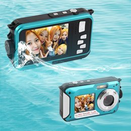 Wholesale Mp Digital Camera - Wholesale-2.7inch TFT Digital Camera Waterproof 24MP MAX 1080P Double Screen 16x Digital Zoom Camcorder hot new