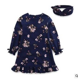 Wholesale Long Sleeve Ruffle Outfits - Girls dress outfits fashion kids floral printed flare sleeve dress Girls ruffle Hem dress+headband 2pcs sets children Autumn clothes G0903