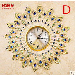 Wholesale Quiet Quartz Wall Clocks - Wholesale- Creative quiet bedroom peacock quartz clock, fashionable Europe type round wall clock, the sitting room wall clock
