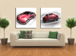 Wholesale Morden Wall Painting - 2pcs set (No Frame) Morden Red Super Sport Car Canvas Giclee Wall Art pictures for Living Room Home Decor(Size:6 sizes)