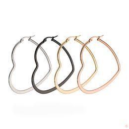 Wholesale Big Hoops For Jewelry - Fashion Heart Love Hoop Earrings For Women Rose Gold Earring Elegant Big Hoop Charm Wedding Jewelry Size 40mm 50mm 60mm