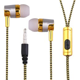 Wholesale Cloth Wire Red - Professional KY-38 Color Cloth Line Heavy Bass Sound In Ear Music Earphones with microphone for Universal Mobile Phone with retail box