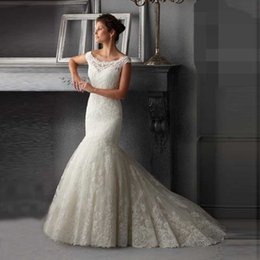 Wholesale Tailor Mermaid Dress - 2017 Glamorous Romantic Tulle Scoop Neck Cap Sleeves Appliques Tailor Made High Quality Mermaid Wedding Gowns