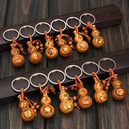 Wholesale Chinese Zodiac Charms - Gourd keychain peach wood Fu Lu zodiac key chain pendant 12 constellations Chinese style animal charms keyring gifts car pendent decorations