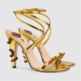 Wholesale Ankle Strap Spiked High Heels - New 2017 Snake spike heel open toe sexy gladiator heel heel sandals ankle strap genuine leather celebrity part wedding shoes